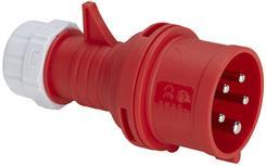 Stikprop CEE m/fasevender - Han - 400V/16A, Rød
