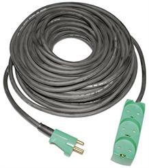 Kabelsæt 10 meter m/3 stikdåse - 3x1,5 mm2