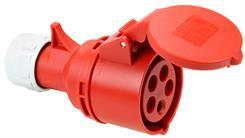 Forlængerled CEE - Hun - 400V/16A, Rød