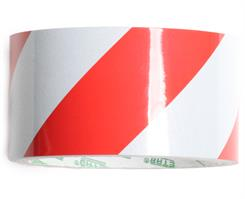 Reflekstape rød/hvid 50 mm x 5 mtr.
