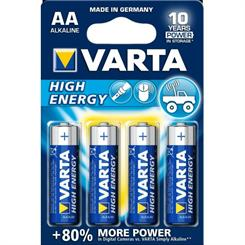 Batteri AA, Alkaline, pk. á 4 stk.