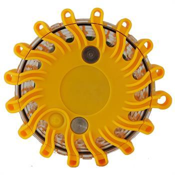 LED Blinklampe gul - 9 lysprogrammer, udskiftbart batteri