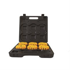LED Blink-lampesæt i kuffert med opladefunktion, 6 stk. gul - 9 lysprogrammer
