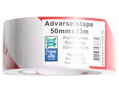 Advarselstape rød/hvid 50 mm x 33 mtr.