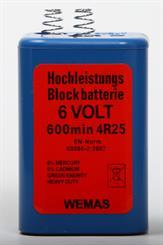 Blokbatteri 6V m/fjeder